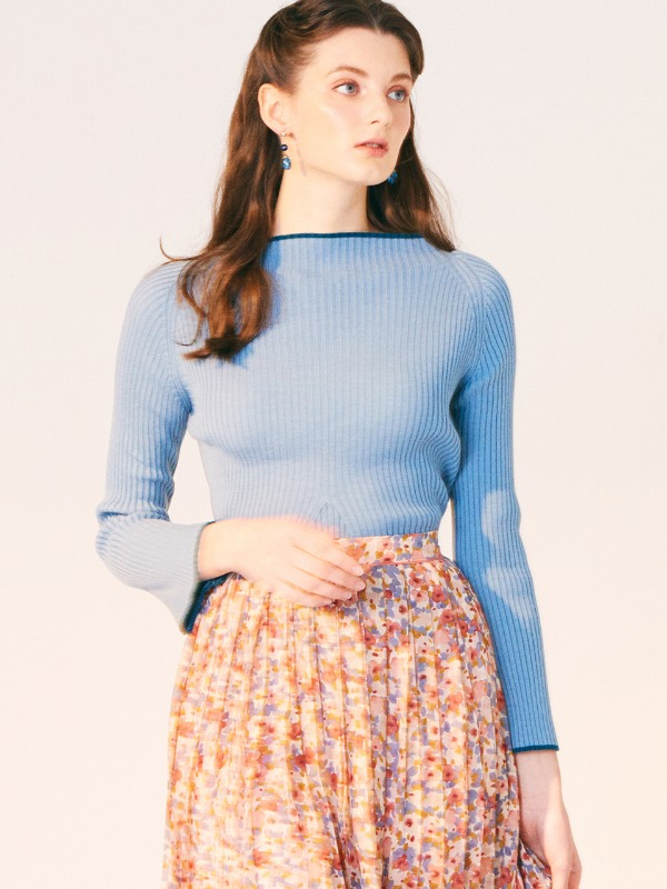 COLOR POINT LINE RAGLAN SLEEVES KNIT_SKY BLUE