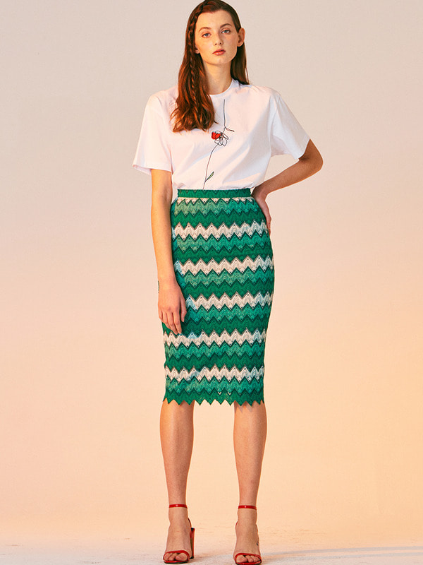 ZIGZAG LACE H LINE SKIRT_GREEN