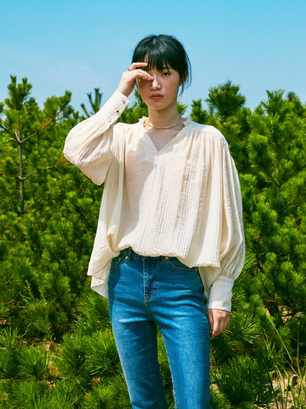 ALL SHIRRING BLOUSE_IVORY