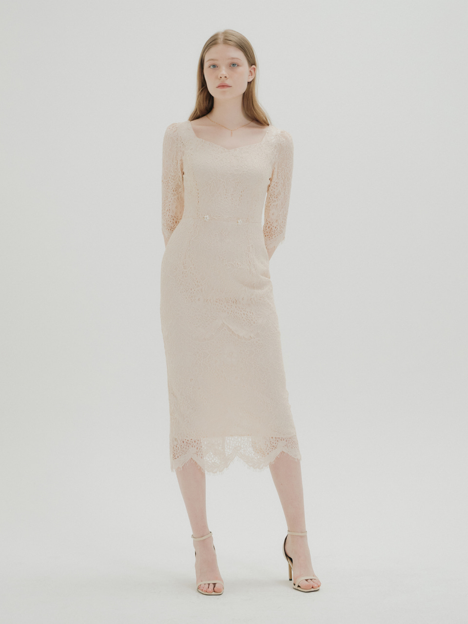 FLOWER LACE H LINE DRESS_IVORY