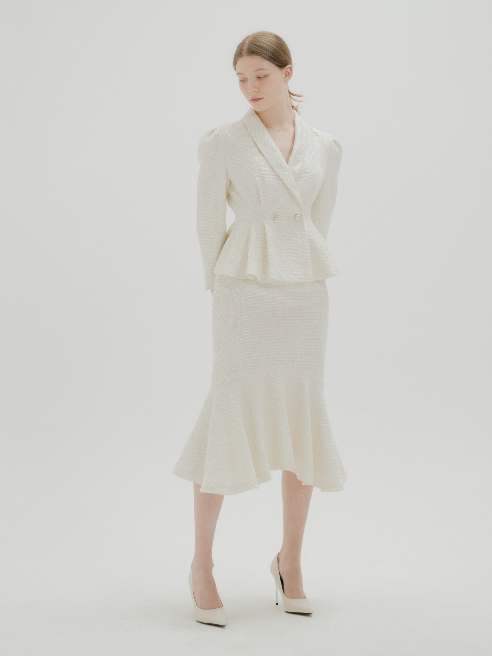 TWEED PEPLUM JACKET AND SKIRT SET_IVORY