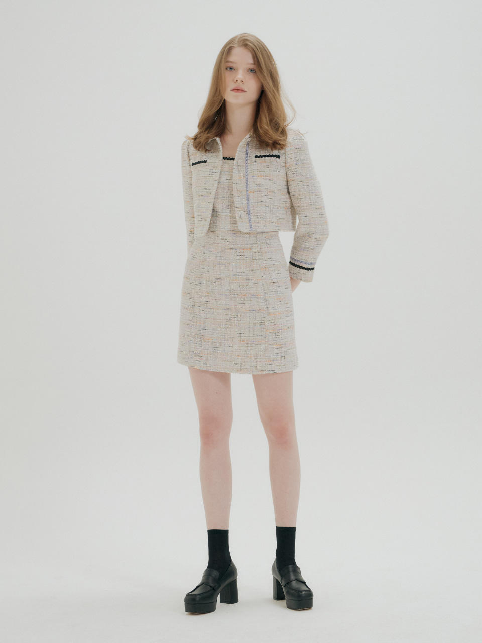 TWEED SHORT JACKET AND DRESS SET_BEIGE