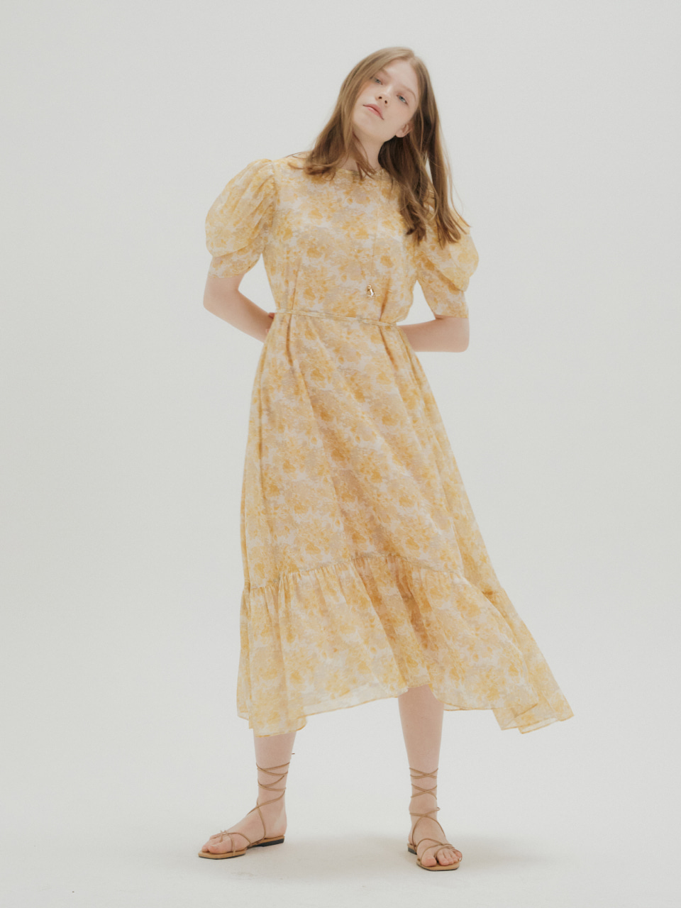 [예약주문_4/28 출고 예정] FLORAL CHIFFON SHIRRING DRESS_YELLOW